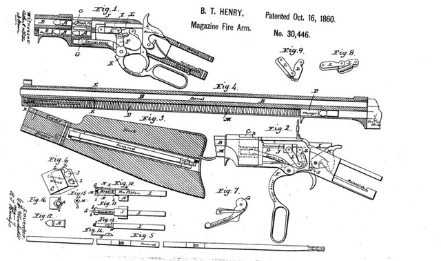 Patent drawing for the Henry rifle, invented by Benjamin Tyler Henry in 1860. Repeating rifles like the Henry gave Union troops a tremendous advantage in the field.