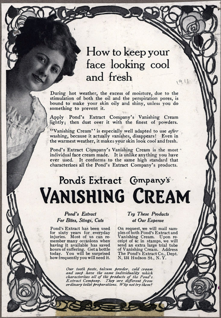 Magazine advertisement for Pond's Vanishing Cream, 1911