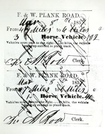 Toll ticket from the Fayetteville and Western Plank Road
