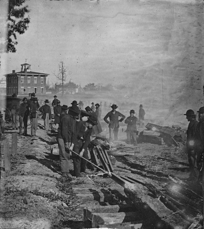 Sherman's men tore up railroads