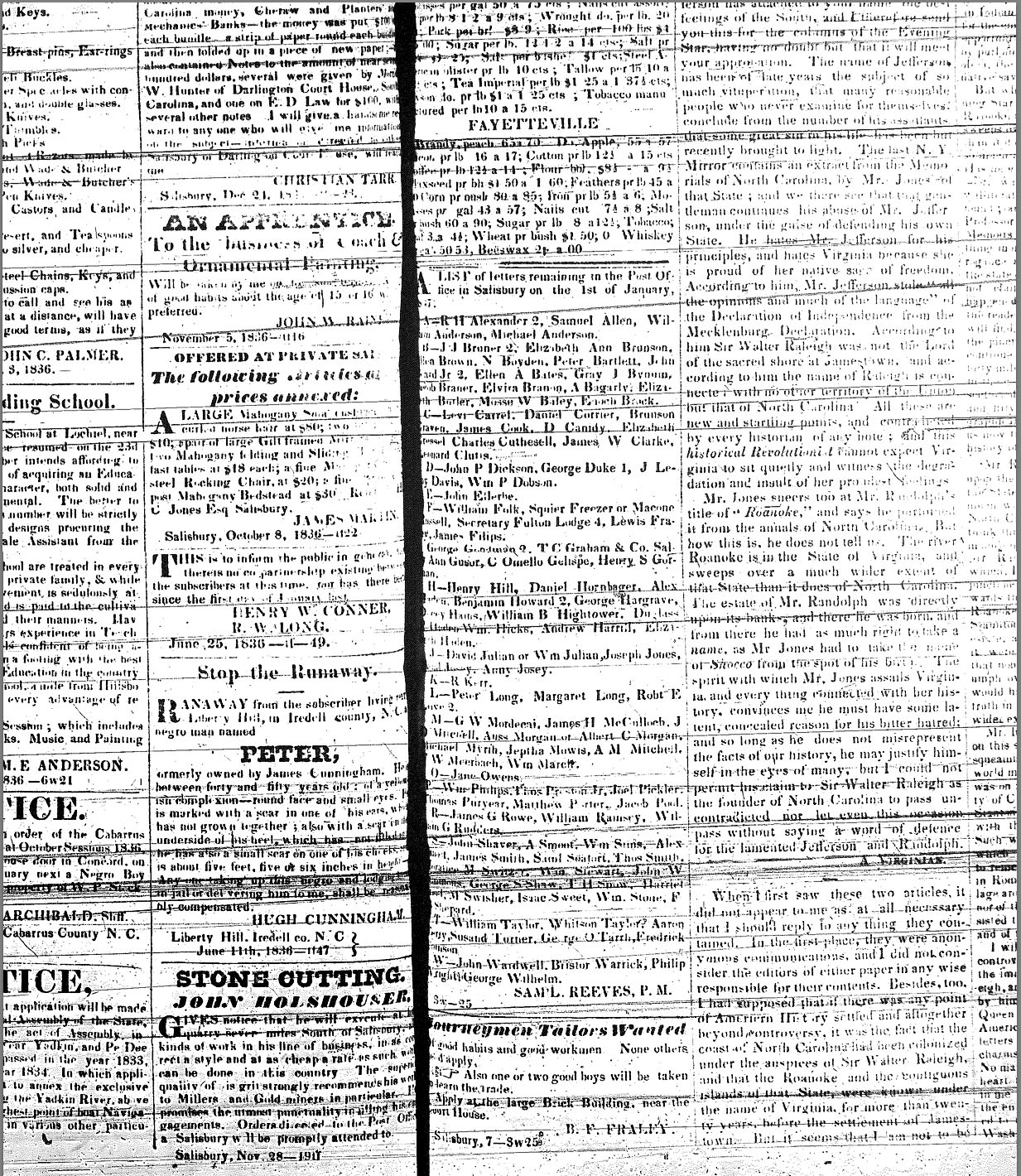 Carolina Watchman slave ads: January 7, 1837