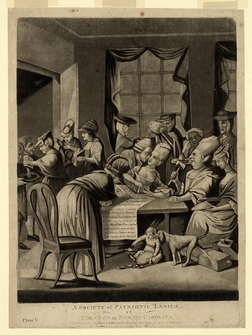 """A Society of Patriotic Ladies, at Edenton, North Carolina,"" a cartoon published in 1775 satirizing the actions of the 51 women from Edenton."
