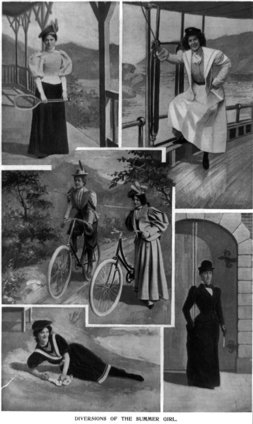 "A magazine portrayed these ""diversions of the summer girl in 1896, which included tennis, sailing, bicycling, and going to the beach."