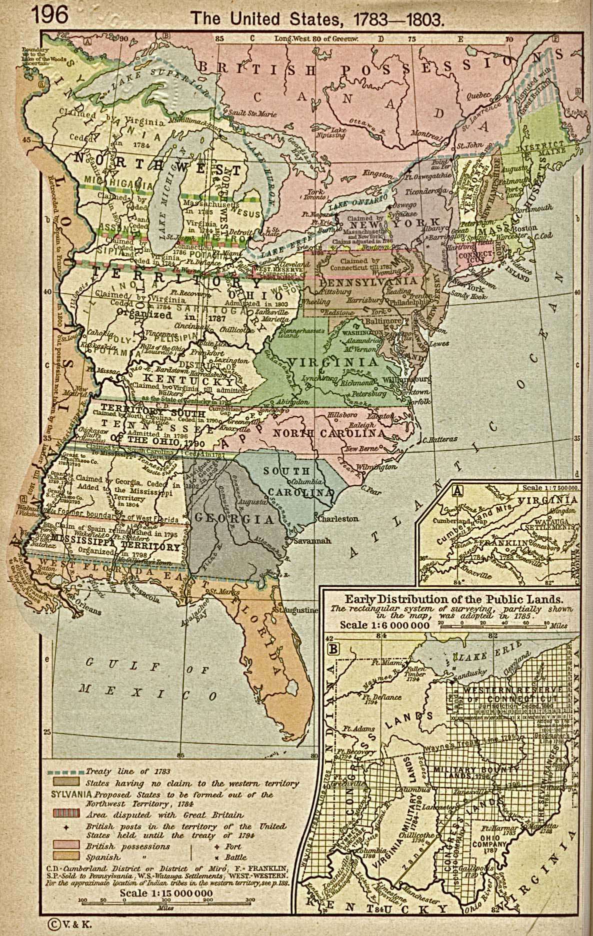 This map shows the United States as it existed between 1783 and 1803, with the State of Franklin in an inset.