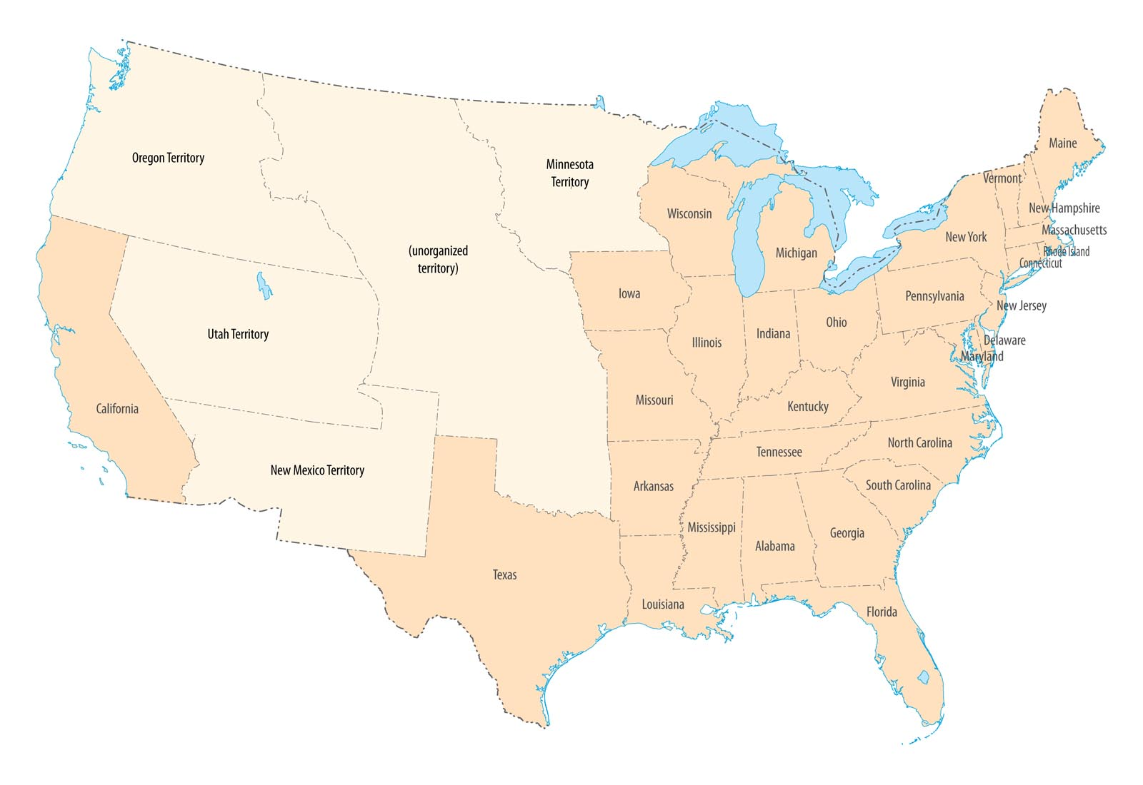The United States and territories in 1850