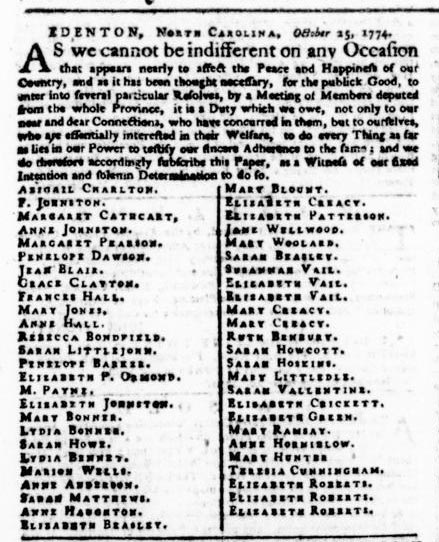 Excerpt of the November 3, 1774 Postscript edition of the Virginia Gazette showing the political statement of fifty-one women from Edenton, N.C.