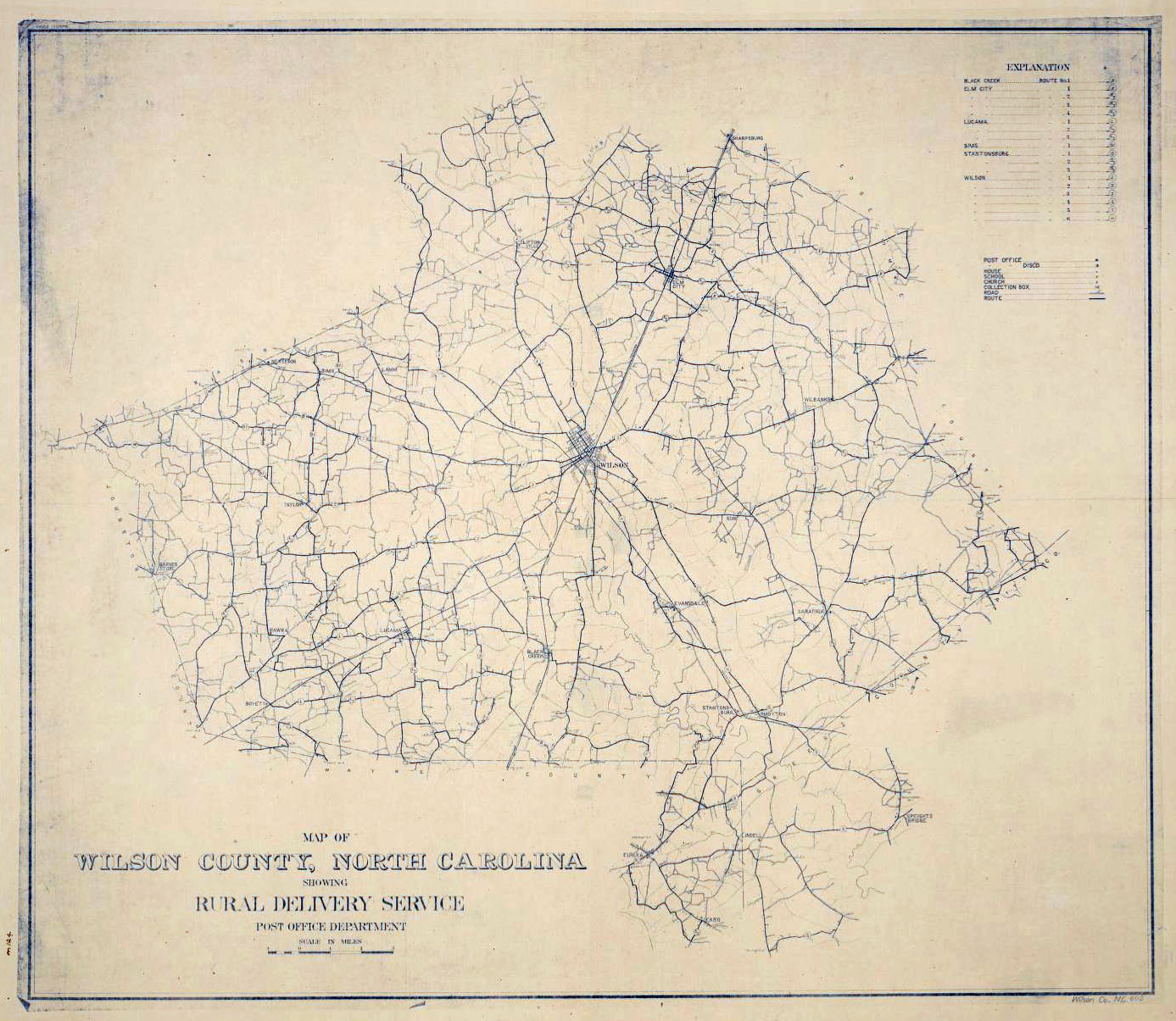 Map of Wilson County, North Carolina, showing rural delivery service