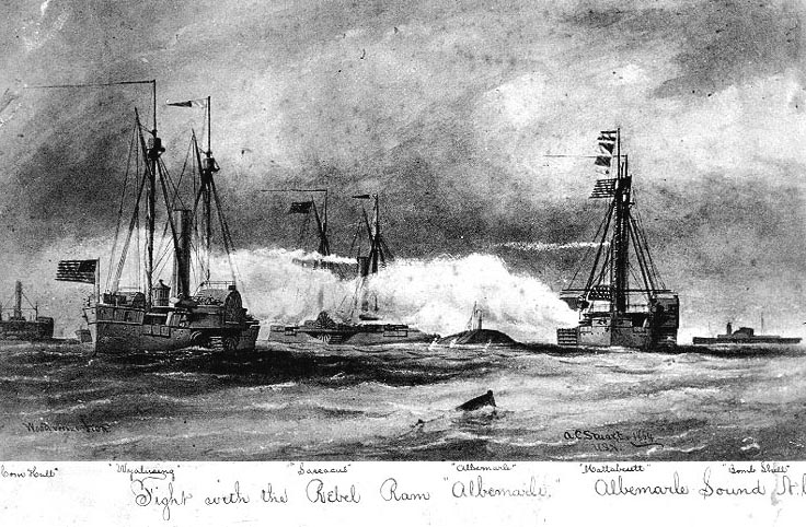 The C.S.S. Albemarle in action, May 5, 1864