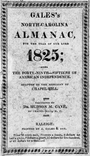 Front cover of Gale's North Carolina Almanac for the year 1825. North Carolina Collection, University of North Carolina at Chapel Hill Library.