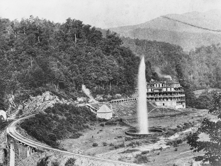 Andrews Geyser and Round Knob Lodge, ca. 1890s. North Carolina Collection, University of North Carolina at Chapel Hill Library.