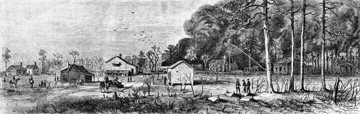 An engraving from Frank Leslie's Illustrated Newspaper, 22 Apr. 1865, showing Bentonville the morning after the battle. North Carolina Collection, University of North Carolina at Chapel Hill Library.