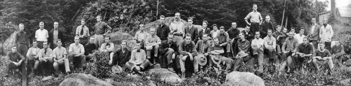 Carl Schenck (with a moustache, near the middle of the back row) and his forestry students, 14 June 1912. North Carolina Collection, University of North Carolina at Chapel Hill Library.