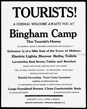 Broadside advertising the Bingham Camp for tourists at Mebane, ca. 1930. North Carolina Collection, University of North Carolina at Chapel Hill Library.