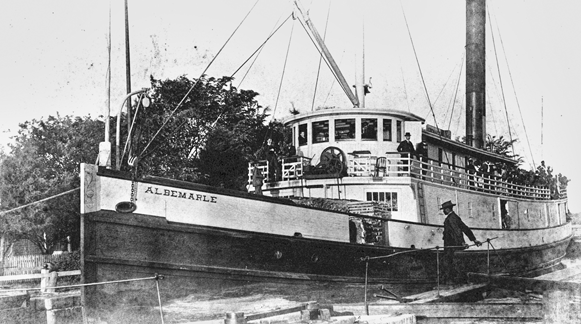 The steamer Albemarle in a lock of the Albemarle and Chesapeake Canal (date unknown). Courtesy of North Carolina Office of Archives and History, Raleigh.