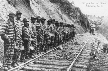 Chain gang working on a railroad near Asheville, 1915. Copied from a postcard. Courtesy of North Carolina Office of Archives and History, Raleigh.