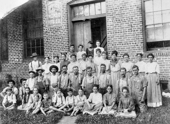Children are well represented in this photograph of the employees of a textile mill at West Monbo in Catawba County, ca. 1913. North Carolina Collection, University of North Carolina at Chapel Hill Library.