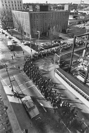 Marchers from Hyde County and elsewhere around the state enter Raleigh on 14 Feb. 1969 to protest Hyde County's school desegregation plan. Courtesy of North Carolina Office of Archives and History, Raleigh. The Raleigh News and Observer files.