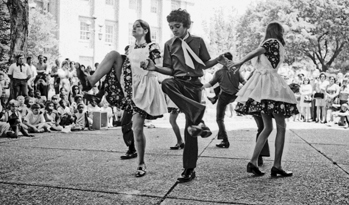 The Daniel Boone Cloggers from Boone perform on Capitol Square in Raleigh, 1973. Courtesy of North Carolina Office of Archives and History, Raleigh.