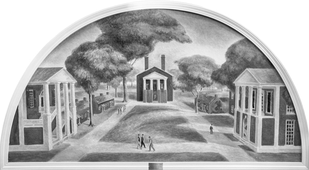 An oil painting by Kentucky muralist Frank Long depicts the original quadrangle at Davidson College as it looked during the second half of the nineteenth century. Photograph courtesy of Davidson College.