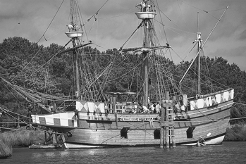 Elizabeth II at anchor in Manteo. Photograph courtesy of North Carolina Division of Tourism, Film, and Sports Development.