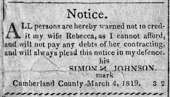 This notice from an 1819 issue of the Carolina Observer is a humorous but insightful example of the high regard accorded newspapers in local affairs early in the state's history. North Carolina Collection, University of North Carolina at Chapel Hill Library.
