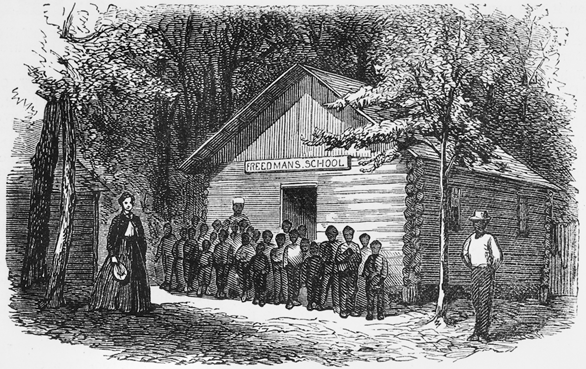 "An 1868 engraving of ""James's Plantation School"" in North Carolina. This freedmen's school is possibly one of those established by Horace James on the Yankee or Avon Hall plantations in Pitt County in 1866. North Carolina Collection, University of North Carolina at Chapel Hill Library."