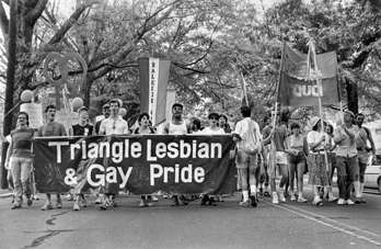 Marchers in the North Carolina Lesbian and Gay Pride Parade, Durham, 1986. North Carolina Collection, University of North Carolina at Chapel Hill Library.