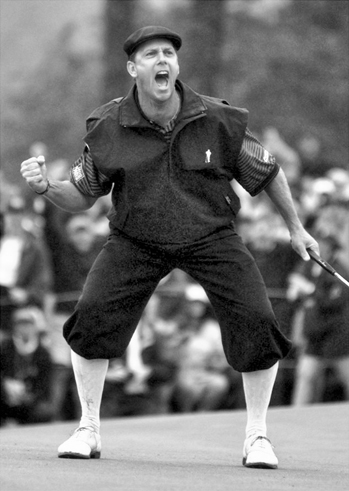 Payne Stewart reacts to his winning shot on the final hole of the 1999 U.S. Open Golf Championship at Pinehurst. Raleigh News and Observer.