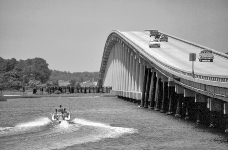 Cameron Langston Bridge over the Intracoastal Waterway on N.C. 58, connecting Cape Carteret and Emerald Isle. Photograph by Charles E. Jones. North Carolina Department of Transportation.