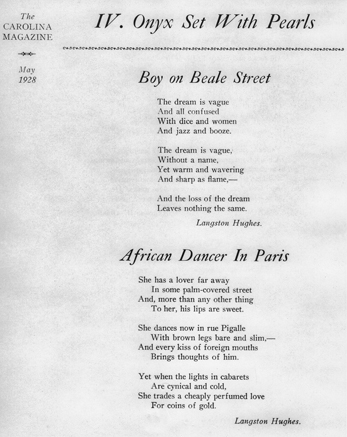 Langston Hughes poems featured in the May 1928 issue of the Carolina Magazine, one of the several incarnations of the modern-day Carolina Quarterly. North Carolina Collection, University of North Carolina at Chapel Hill Library.