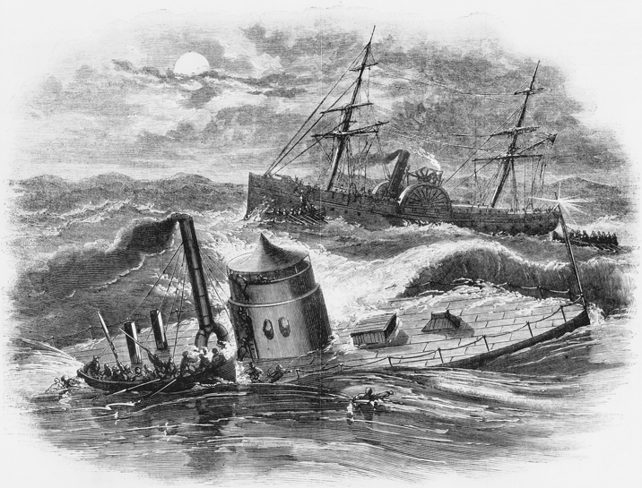 An illustration from the 24 Jan. 1863 issue of Harper's Weekly showing crewmen being rescued from the ironclad Monitor as it sinks in a storm off Cape Hatteras in December 1862. North Carolina Collection, University of North Carolina at Chapel Hill Library.
