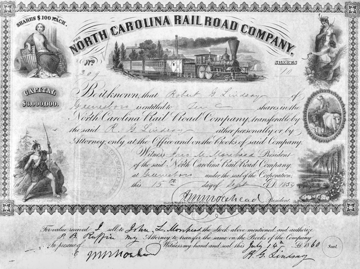 Stock certificate for the North Carolina Railroad issued in 1859 and signed by NCR president John Motley Morehead. Courtesy of North Carolina Office of Archives and History, Raleigh.