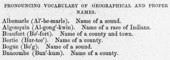Entries from the 1851 edition of the North Carolina Reader. North Carolina Collection, University of North Carolina at Chapel Hill Library.