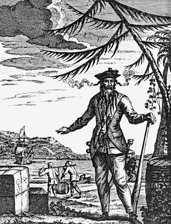A nineteenth-century engraving of Edward Teach, also known as Blackbeard. North Carolina Collection, University of North Carolina at Chapel Hill Library.