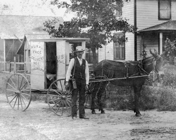 A Rural Free Delivery mail carrier at Chadbourn, early 1900s. North Carolina Collection, University of North Carolina at Chapel Hill Library.