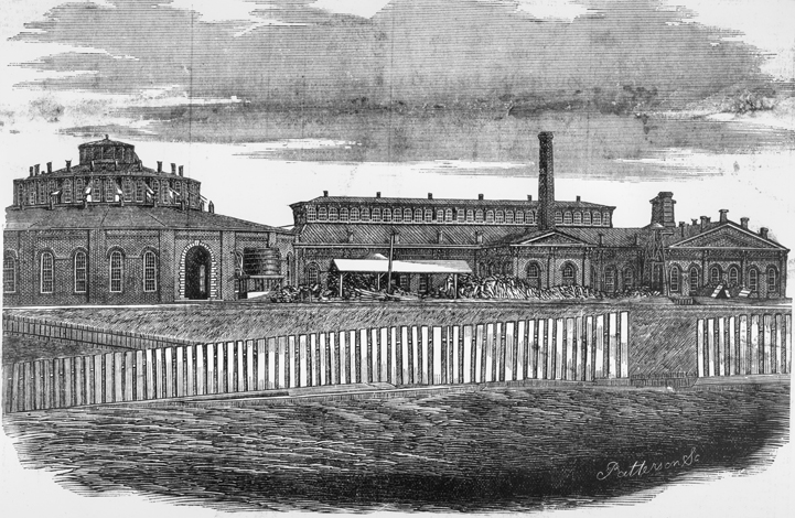 An 1874 engraving shows the roundhouse and machine shops of the Raleigh & Gaston Railroad in Raleigh. North Carolina Collection, University of North Carolina at Chapel Hill Library.