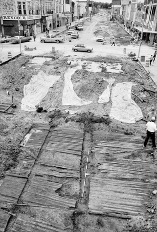 A section of the Western Plank Road discovered by archaeologists in 1984 during street excavations in Fayetteville. Photograph courtesy of Kenneth W. Robinson.