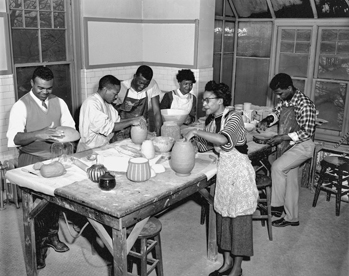 Ceramics class at Shaw University, 1954. Courtesy of North Carolina Office of Archives and History, Raleigh. The Raleigh News and Observer files.