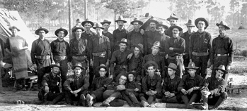 The Catawba County Boys, Company A, 1st North Carolina Regiment, Seventh Army Corp, pose beside a tent at Camp Cuba Libre in Jacksonville, Fla., 30 July 1898. Courtesy of North Carolina Office of Archives and History, Raleigh.
