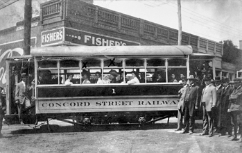 A crowded streetcar in Concord, ca. 1910. North Carolina Collection, University of North Carolina at Chapel Hill Library.