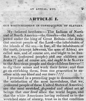 The opening of Article I of David Walker's 1829 antislavery pamphlet. North Carolina Collection, University of North Carolina at Chapel Hill Library.