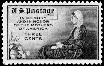 U.S. postage stamp issued on Mother's Day 1934, based on James Whistler's 1871 painting of his North Carolina-born mother, Anna McNeill Whistler. Courtesy of William S. Powell.
