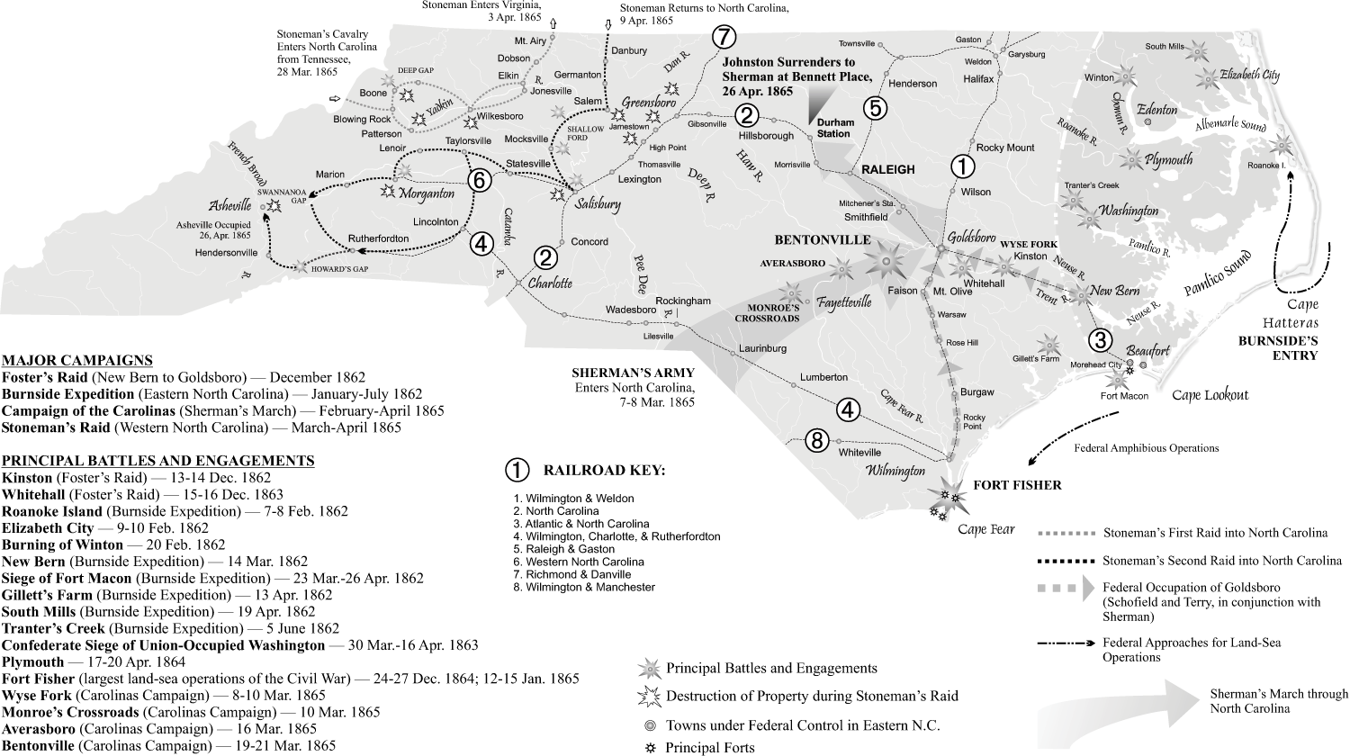 Civil War campaigns and battles. Map by Mark Anderson Moore, courtesy North Carolina Office of Archives and History, Raleigh.