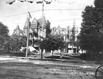 Baptist University for Women (Meredith College), downtown Raleigh, NC, 1909. From Carolina Power and Light (CP&L) Photograph Collection, North Carolina State Archives, call #  PhC68_1_183.