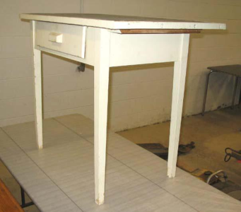 Small white-painted rectangular wooden utility table