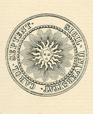 The original seal of the University of North Carolina, designed in 1791 by James Hogg, Alfred Moore, and John Haywood. Image from University of North Carolina Catalogue, 1893-'94, North Carolina Collection, University of North Carolina at Chapel Hill Library.