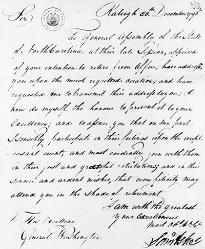 Letter from Samuel Ashe to George Washington, December 1796. Image from the Library of Congress.