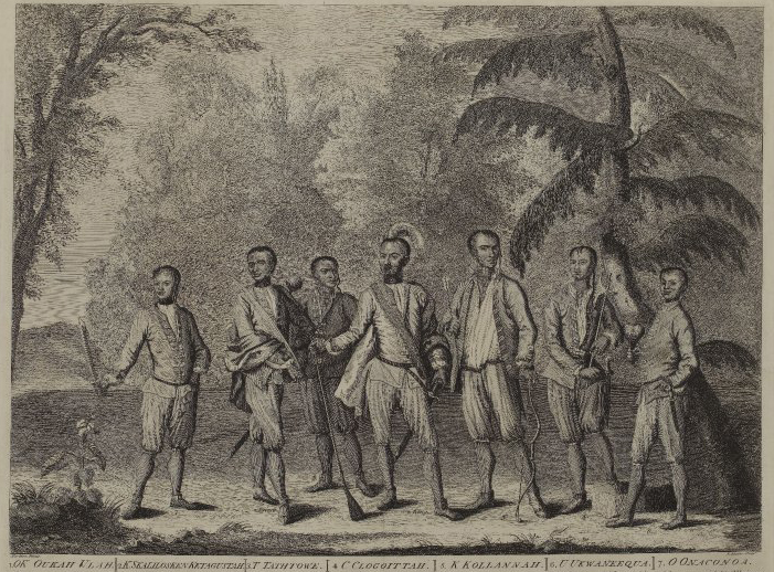 "Print of the Cherokee ambassadors in European clothes in England, 1730. Attakullakulla is in the center, identified with an alternative spelling of his name, ""C Clogoittah."" Image © Trustees of the British Museum."