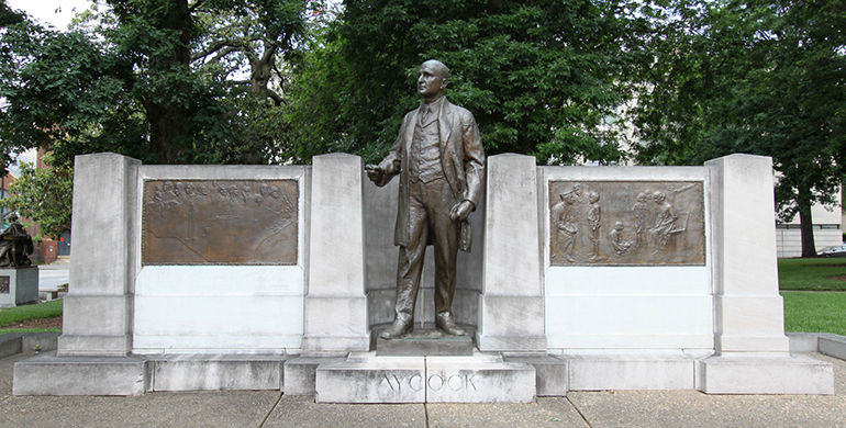 Photograph of the Charles Brantley Aycock memorial at the Capitol Building in Raleigh, 2011. Image from Flickr user OZinOH.