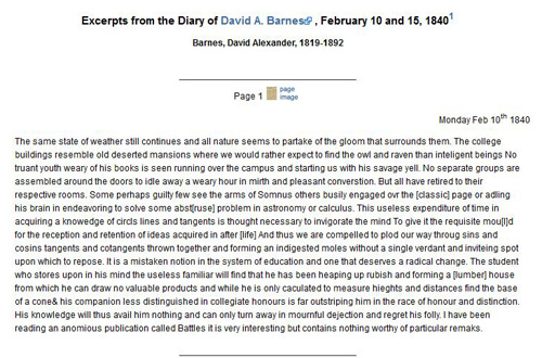 Excerpt from Barne's diary, click for larger. Courtesy of UNC Libraries.